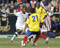 Eddie Johnson #9 of the USA MNT moves up on John Javier Restrepo #21 of Colombia during an international friendly match at PPL Park, on October 12 2010 in Chester, PA. The game ended in a 0-0 tie.
