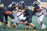 Towson, MD - September 9, 2016: Towson Tigers quarterback Ellis Knudson (8) in action during game between Towson and St. Francis at Minnegan Field at Johnny Unitas Stadium  in Towson, MD. September 9, 2016.  (Photo by Elliott Brown/Media Images International)