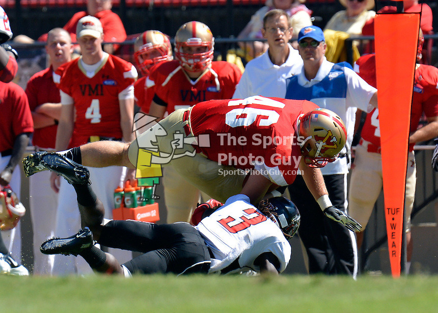 NCAA FCS: North Greenville stuns VMI Football, 37-24 - Derick Ziglar rumbles through the line on his way to a 3rd quarter TD run for the Keydets, who were knocked off 37-24 by the visiting Crusaders of North Greenville on Saturday, September 14 in Lexington.