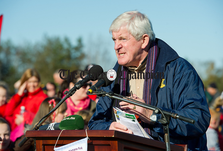 MC on the day and Trustee Seamus O Sullivan speaking at the official opening of Fr Mc Namara Memorial Park in Doora. Photograph by John Kelly.