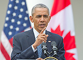 United States President Barack Obama holds a joint press conference with Prime Minister Justin Trudeau of Canada  in the Rose Garden of the White House in Washington, DC on Thursday, March 10, 2016. <br /> Credit: Ron Sachs / CNP