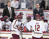 Greg Brown (BC - Associate Head Coach), Danny Linell (BC - 10), Destry Straight (BC - 17), Michael Sit (BC - 18), Kevin Hayes (BC - 12), Mike Cavanaugh (BC - Associate Head Coach), Brendan Silk (BC - 9) - The Boston College Eagles defeated the visiting University of New Hampshire Wildcats 5-2 on Friday, January 11, 2013, at Kelley Rink in Conte Forum in Chestnut Hill, Massachusetts.