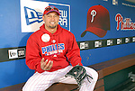 10/17/08 2:46:08 PM -- Philadelphia, PA, U.S.A. -- Philadelphia Phillies Shane Victorino poses for a photo in the Phillies dugout after practice October 17, 2008 at Citizen's Bank Park in Philadelphia, Pennsylvania. Victorino showed the team that cast him aside that it made a costly error. The Philadelphia outfielder, who spent six years in the L.A. Dodgers' farm system, used key hits in pressure situations, including a triple, Game 4 eighth-inning homer and six RBI during the NLCS, to help the Phillies beat the Dodgers and reach their first World Series since 1993. -- ..Photo by William Thomas Cain/cainimages.com.