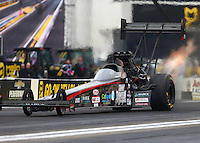 Feb 10, 2017; Pomona, CA, USA; NHRA top fuel driver Scott Palmer during qualifying for the Winternationals at Auto Club Raceway at Pomona. Mandatory Credit: Mark J. Rebilas-USA TODAY Sports