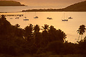 Boats in Esperanza bay at dawn, Vieques Island, Puerto Rico.  .#3654-2056