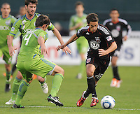 DC United forward Josh Wolff (16) goes against Seattle Sounders defender Patrick Ianni (4)  DC United defeated The Seattle Sounders 2-1, at RFK Stadium, Wednesday  May 4, 2011.