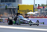 Apr 30, 2016; Baytown, TX, USA; NHRA top fuel driver Brittany Force during qualifying for the Spring Nationals at Royal Purple Raceway. Mandatory Credit: Mark J. Rebilas-USA TODAY Sports