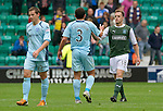 Hibs v St Johnstone...25.08.12   SPL.Former saints Alan Maybury with Callum Davidson at full time.Picture by Graeme Hart..Copyright Perthshire Picture Agency.Tel: 01738 623350  Mobile: 07990 594431