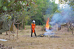Burning Brush In Advance Of Demining