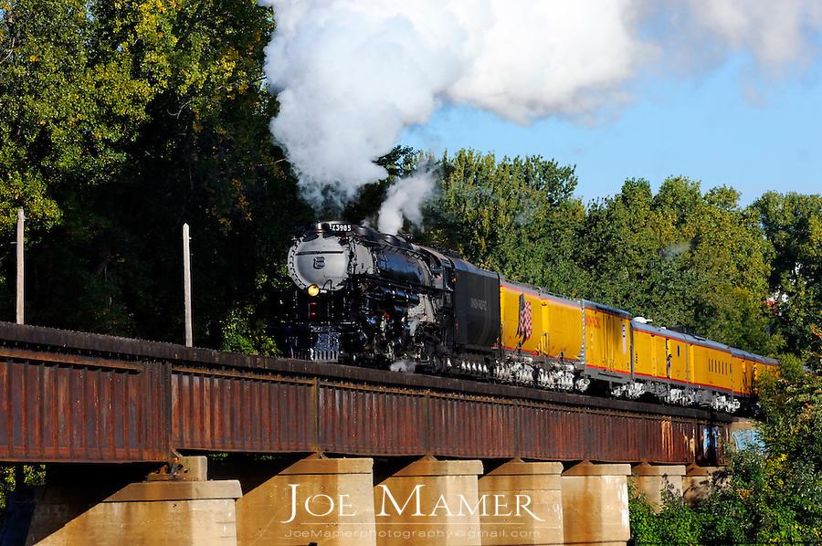 Union Pacific Railroad's Challenger steam engine 3895 pulls a passenger train across the Minnesota River in St. Paul Minnesota.