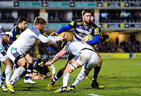 Matt Banahan of Bath Rugby takes on the Newcastle Falcons defence. Aviva Premiership match, between Bath Rugby and Newcastle Falcons on March 18, 2016 at the Recreation Ground in Bath, England. Photo by: Patrick Khachfe / Onside Images
