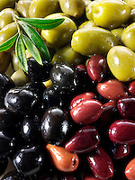 Fresh mixed black, green & kalamata olives olives photos, pictures & images.