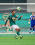 19 October 2013: University of Vermont Catamount Midfielder/Defenseman Beau Johnson, a Senior from Ajax, Ontario, in action against the University at Albany Great Danes at Virtue Field in Burlington, Vermont. The Catamounts defeated the visiting Danes 2-1. Mandatory Credit: Ed Wolfstein Photo *** RAW (NEF) Image File Available ***