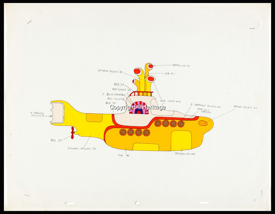 BNPS.co.uk (01202 558833)<br /> Pic: Heritage/BNPS<br /> <br /> Surfacing at auction - The first ever drawing of the Beatles famous Yellow submarine....<br /> <br /> Periscopes Up! - The unique first drawing of the Yellow submarine for the Fab Fours 1968 psychedelic cartoon is up for auction - With a whopping &pound;10,000 asking price.<br /> <br /> The original hand-painted cartoon depicts the eponymous submarine from the iconic adventure in which the Fab Four travel to Pepperland to save it from the Blue Meanies.<br /> <br /> It is the first drawings ever done of the Yellow Submarine and was used as a master from which artists working on the film created all other images of the wacky vessel.<br /> <br /> Original examples of cels from Yellow Submarine are so sought after that experts have tipped the submarine cartoon to fetch &pound;10,000 when it goes under the hammer at Heritage Auctions.