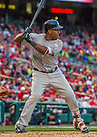 7 April 2016: Miami Marlins outfielder Marcell Ozuna at bat during the Washington Nationals Home Opening Game at Nationals Park in Washington, DC. The Marlins defeated the Nationals 6-4 in their first meeting of the 2016 MLB season. Mandatory Credit: Ed Wolfstein Photo *** RAW (NEF) Image File Available ***