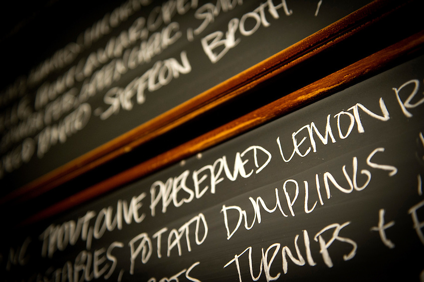 Chalk boards at Cakes & Ale display the menu, which includes potato dumplings, photographed for Choice Tables on Friday, April 22, 2011 in Decatur. GA.  (Rich Addicks/Photographer) 10110950A