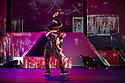 London, UK. 18.10.2013. Boy Blue Entertainment perform THE FIVE AND THE PROPHECY OF PRANA at the Barbican theatre. Dancers are: Michele 'Paleta' Rhyner, Bradley 'Bradz' Charles, Theo 'Godson' Oloyade, Kofi 'Klik' Mingo, Xena Gusthart, Vicky 'Skytilz' Mantey, Duwane Taylor, Kayla Lomas-Kirton, shaun Smith, Hakim Saber and Jumar Aben. Picture shows: Michele 'Paleta' Rhyner and Bradley 'Bradz' Charles. Photograph © Jane Hobson.