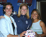 Birgit Prinz, Cindy Parlow, and Tiffany Roberts in Cary, North Carolina on 5/12/03 during a press conference announcing details of the 2003 WUSA All-Star Game.