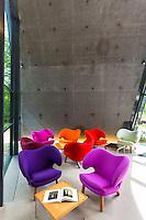 Minimalist Pelican chairs by Danish designer Finn Juhl in building by Zaha Hadid, Ordrupgaard Art Design Museum Denmark