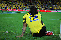 Hurricanes second five Ma'a Nonu watches form the sideline after being sent off for a second yellow card. Super 15 rugby match - Hurricanes v Highlanders at Westpac Stadium, Wellington, New Zealand on Friday, 18 February 2011. Photo: Dave Lintott / lintottphoto.co.nz