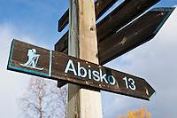 Trail marker at Abiskojaure, Kungsleden trail, Sweden