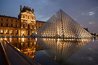 Glass pyramid by I. M. Pei, rising from the centre of the Cour Napoléon, Pavillon Denon in the background, Louvre Museum, Paris, France. Inaugurated March 30, 1989. Picture by Manuel Cohen