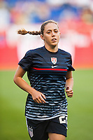 United States (USA) defender Meghan Klingenberg (22) during warmups. The women's national team of the United States defeated the Korea Republic 5-0 during an international friendly at Red Bull Arena in Harrison, NJ, on June 20, 2013.