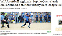 McFarland's Sophie Quelle connects for an in-field home run into right field on Wednesday, as McFarland tops Dodgeville 10-0 | Wisconsin State Journal article in Sports 5/26/16 and online at http://host.madison.com/wsj/sports/high-school/softball/wiaa-softball-regionals-sophie-quelle-leads-mcfarland-to-a-shutout/article_c2cfd6d0-22f2-11e6-a73c-dbd42142b242.html