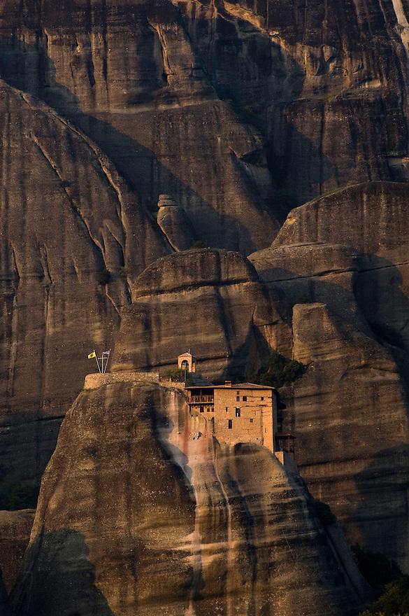 Greece, Meteora, Agios Nikolaos (St, Nicholas) Anapafsas Monastery in Sunset