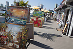Paintings for sale outside a shop in Shoreline Village, Long Beach, CA