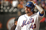 New York Mets Pitcher R.A. Dickey reacts after his turn on bat during their game against Miami Marlins at Citi Field Stadium in New York. Photo by Eduardo Munoz Alvarez / VIEW.