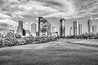 Downtown Houston with the skyline in the background in black and white. Houston has some of the most amazing skyline in the south and you can get a pretty good view of them in this image.  The downtown Houston is loaded with some of the tallest skyscrapers  in the southern United States.