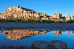 Kasbah Ait Ben Haddou with reflection in the river, UNESCO World Heritage site, Morocco.