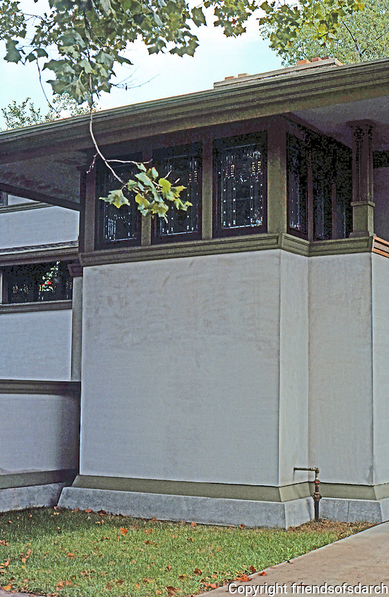 F.L. Wright: Frank W. Thomas House. S.W. Elevation, detail.  Photo '77.