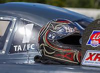 Aug 21, 2016; Brainerd, MN, USA; Detailed view of the helmet of NHRA top alcohol funny car driver Jonnie Lindberg after winning the Lucas Oil Nationals at Brainerd International Raceway. Mandatory Credit: Mark J. Rebilas-USA TODAY Sports