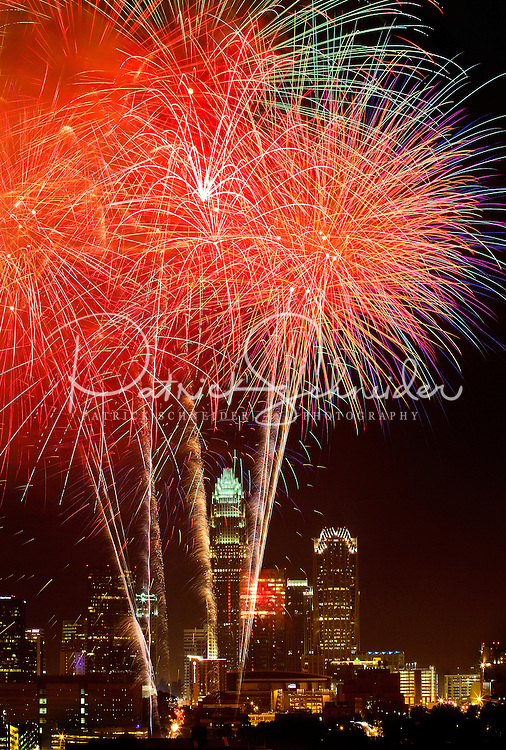 Fireworks explode over Charlotte, NC, during the Fourth of July celebrations in 2011. Patrick Schneider Photography has an extensive collection of images of current Charlotte skyline images with a wide range of perspectives on the city. Call or email for assistance.