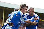 Motherwell v St Johnstone...11.08.12.Murray Davidson celebrates his goal with Rowan Vine and Nigel Hasselbaink.Picture by Graeme Hart..Copyright Perthshire Picture Agency.Tel: 01738 623350  Mobile: 07990 594431