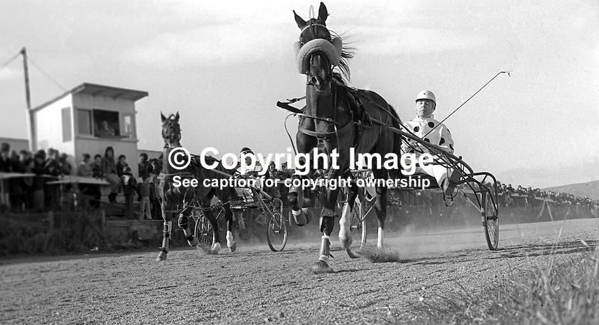 Harness racing at Lambeg Stadium, Lisburn, N Ireland, UK, 197504010790d..Copyright Image from Victor Patterson, 54 Dorchester Park, Belfast, United Kingdom, UK...For my Terms and Conditions of Use go to http://www.victorpatterson.com/Victor_Patterson/Terms_%26_Conditions.html