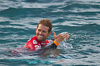 Damien Hobgood (USA) after winning his Round 3 heat. TEAHUPOO, Taiarapu/Tahiti (Wednesday, September 1, 2010) - The idyllic conditions of the past two days were washed away this morning under heavy south wind and rain, forcing the Billabong Pro Tahiti to call competition off after completing the remaining four heats of Round 3...Stop No. 5 of 10 on the 2010 ASP World Tour, the Billabong Pro Tahiti is both a pivotal point in the hunt for the 2010 ASP World Title as well as the midyear field reduction; the latter of which was completed today...Patrick Gudauskas (USA), 24, 2010 ASP Dream Tour rookie, punctuated the morning's action, executing an incredible Rodeo Flip in the dying moments of his Round 3 heat to overtake Chris Davidson (AUS), 33, and advance through to Round 4...  Photo: joliphotos.com