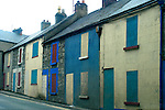 Europe, Ireland. The backside of rowhouses painted with doors and windows on the street.