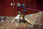 THIS PHOTO IS SIMILAR TO AN IMAGE AVAILABLE EXCLUSIVELY FROM AURORA PHOTOS; LICENSING MUST GO THROUGH AURORA.<br /> Visit Aurora and Keyword &quot;Tim Matsui&quot; <br /> http://www.auroraphotos.com / +1.207.828.8787<br /> <br /> Climbers at the Stone Gardens climbing gym, Seattle, Washington, USA. Sport climbers and boulderers at Stone Gardens, an indoor climbing in Seattle, Washington.