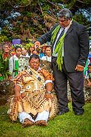 Makirau Haurua during his investiture with the Teurukura Ariki title, Aitutaki Island, Cook Islands.