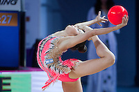 VICTORIA VEINBERG FILANOVSKY of Israel performs with ball at 2016 European Championships at Holon, Israel on June 18, 2016.