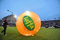 Half-time zorbing entertainment from Jaffa. European Rugby Champions Cup match, between Bath Rugby and Leinster Rugby on November 21, 2015 at the Recreation Ground in Bath, England. Photo by: Patrick Khachfe / Onside Images