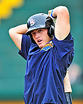 21 August 2010: Brooklyn Cyclones infielder James Schroeder awaits his turn in the batting cage prior to a game against the Vermont Lake Monsters at Centennial Field in Burlington, Vermont. The Cyclones defeated the Lake Monsters 8-7 in a 12-inning game that had to be resumed in Brooklyn on August 31 due to late inning rain. Mandatory Credit: Ed Wolfstein Photo