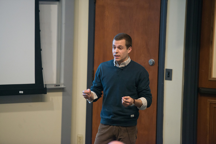 NAME presents his thesis during the 3 Minute Thesis Competition at the Stocker Center on February 15, 2017.