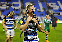 Rhys Priestland of Bath Rugby is all smiles after his first start for the club. Aviva Premiership match, between London Irish and Bath Rugby on November 7, 2015 at the Madejski Stadium in Reading, England. Photo by: Patrick Khachfe / Onside Images