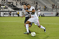 Orlando, FL - Saturday Jan. 21, 2017: São Paulo defender Junior (16) tries to dribble away from Corinthians midfielder Giovanni Cardoso (17) during the second half of the Florida Cup Championship match between São Paulo and Corinthians at Bright House Networks Stadium. The game ended 0-0 in regulation with São Paulo defeating Corinthians 4-3 on penalty kicks