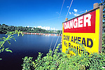 Danger - Dam Ahead Sign