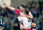 Ally McCoist scores and celebrates with team-mates as the Rangers striker salvages a last gasp draw away to Raith Rovers in November 1996